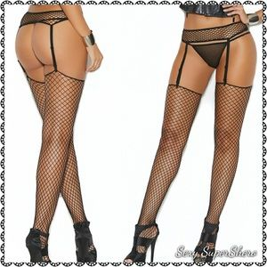 🆕Sexy Fence Net Garter Belt & Stockings Lingerie